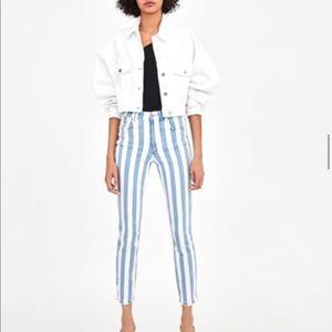 Striped hi rise jeans